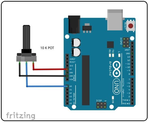 AnalogRead Arduino Potentiometer Circuit diagram