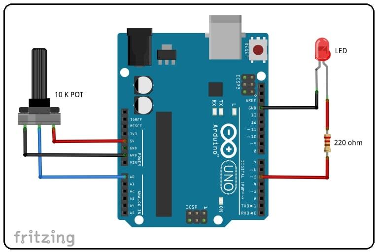 LED Brightness Control Using Potentiometer Circuit Diagram