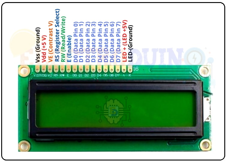 16x2 LCD Display Module Pin Diagram /Pinout