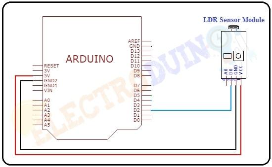 Arduino LDR Sensor Module Circuit Diagram for Digital Output