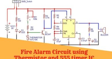Fire Alarm Circuit using Thermistor and 555 timer IC