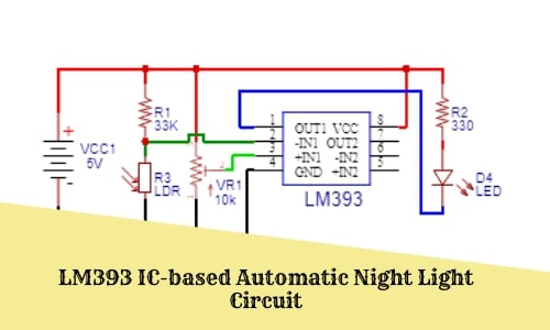 LM393 IC-based Automatic Night Light Circuit