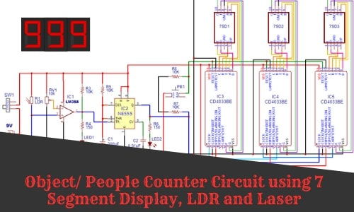 Object/ People/Visitor Counter Circuit using 7 Segment Display, LDR, and Laser