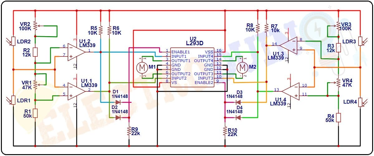 Dual Axis Solar Tracker using, LDR LM339 and L293D Circuit Diagram