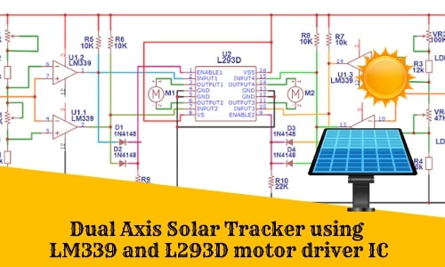Dual Axis Solar Tracker using LM339 and L293D motor driver IC
