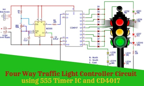 Four Way Traffic Light Controller Circuit using 555 Timer IC and CD4017