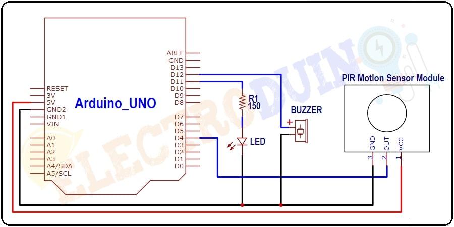 Motion Detector Circuit Diagram using PIR Sensor Module, Arduino, LED and buzzer