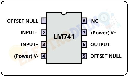 LM741 Op-Amp IC Pin diagram/ Pinout