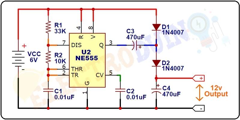 NE555 Timer IC Voltage Doubler Circuit Diagram