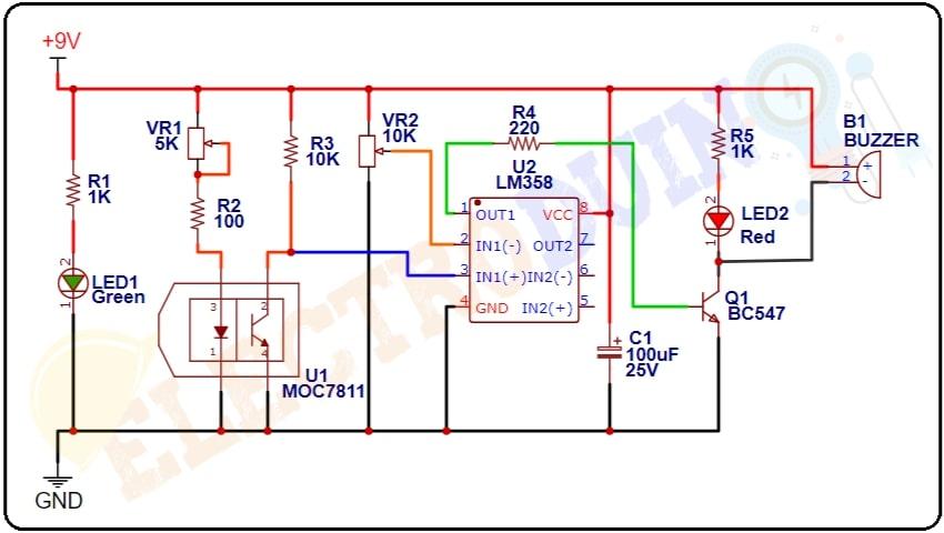 Optical Smoke Detector Circuit Diagram using ITR8102 Opto Isolator sensor and LM358 Op-Amp IC