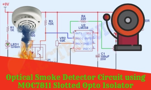 Optical Smoke Detector System/Device using ITR8102 Opto Isolator sensor and LM358 Op-Amp IC