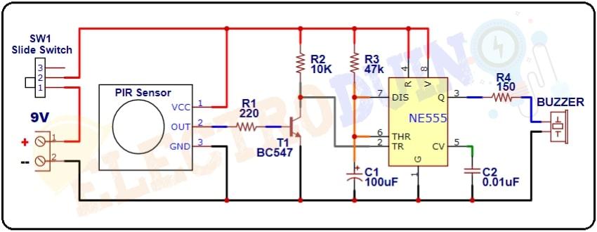 PIR Sensor Burglar Alarm System Circuit using 555 Timer IC Circuit Diagram