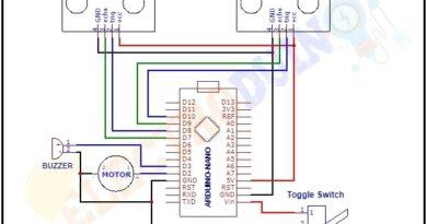 Smart Blind Stick Using Arduino and 2 Ultrasonic Sensors Circuit Diagram, Schematics