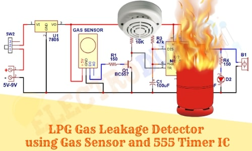 LPG Gas Leakage Detector Project circuit using MQ2 Gas Sensor and 555 Timer IC