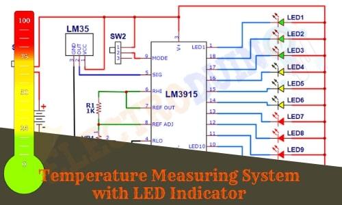 Temperature Measuring System with LED Indicator Using LM35 Temperature Sensor, and LM3915 Logarithmic Dot/Bar Display Driver IC Circuit Diagram, temperature meter