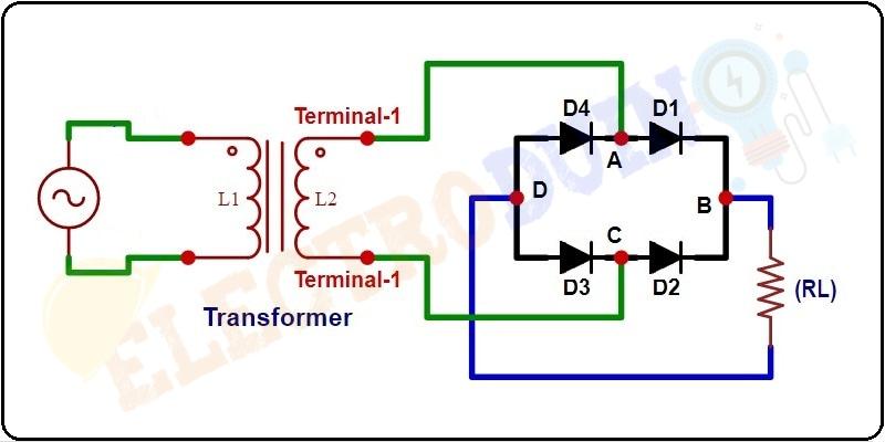 Simple Circuit Diagram of Full Wave Bridge Rectifier